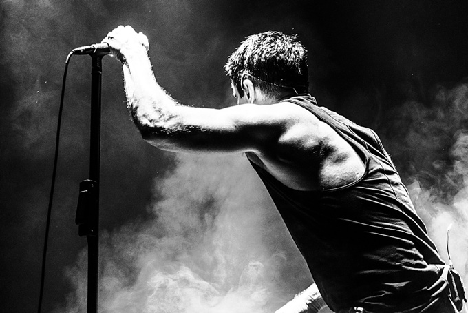 Nine Inch Nails, Concert Photo, Vienna, Austria, 2014: Trent Reznor back portrait on stage