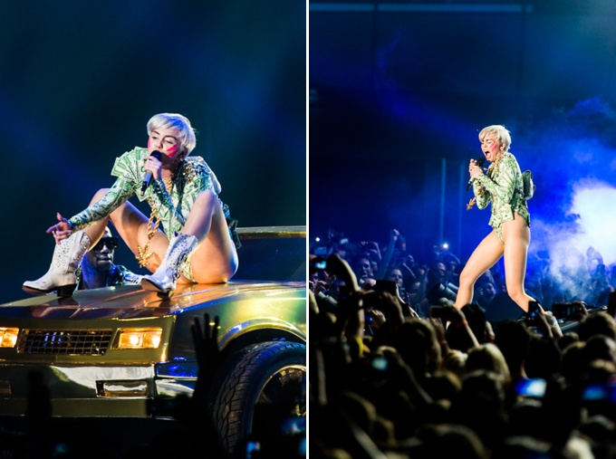 Miley Cyrus, Concert Photos, Vienna, Austria, 2014: Miley Cyrus sitting on top of a golden car, screaming on stage