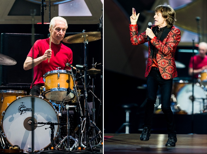 The Rolling Stones, Concert Photo, Vienna, Austria, 2014: Charlie Watts playing drums, Mick Jagger singing