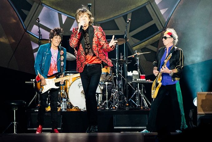 The Rolling Stones, Concert Photo, Vienna, Austria, 2014: Ronnie Wood, Mick Jagger and Keith Richards performing on stage