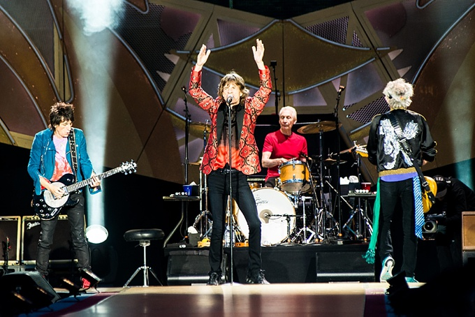 The Rolling Stones, Concert Photo, Vienna, Austria, 2014: Ronnie Wood, Charlie Watts, Mick Jagger and Keith Richards performing on stage