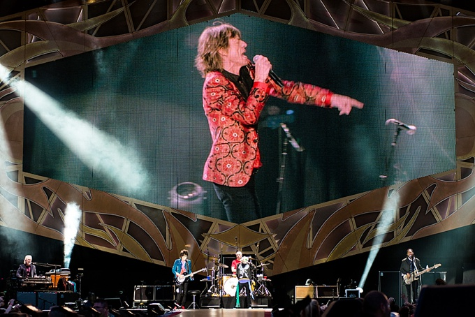 The Rolling Stones, Concert Photo, Vienna, Austria, 2014: Ronnie Wood, Charlie Watts, Mick Jagger and Keith Richards performing on stage, stage overview
