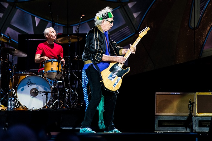 The Rolling Stones, Concert Photo, Vienna, Austria, 2014: Charlie Watts and Keith Richards performing on stage