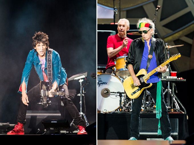 The Rolling Stones, Concert Photo, Vienna, Austria, 2014: Ronnie Wood, Charlie Watts and Keith Richards performing on stage