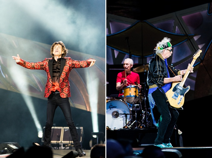 The Rolling Stones, Concert Photo, Vienna, Austria, 2014: Keith Richards, Mick Jagger and Charlie Watts performing on stage