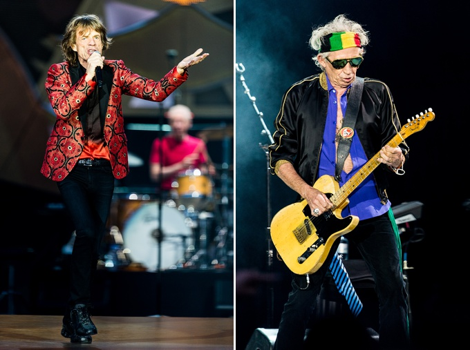 The Rolling Stones, Concert Photo, Vienna, Austria, 2014: Mick Jagger dancing, Keith Richards playing guitar
