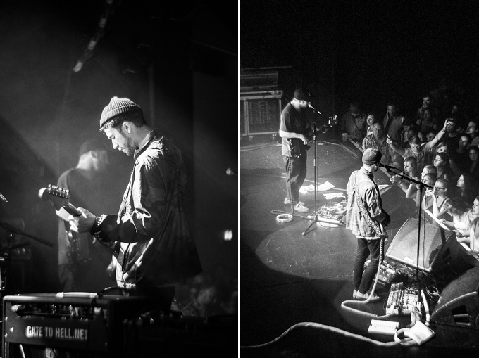 Portugal. The Man, Concert Photo, Linz, Austria, 2014, Petzval Lens: John Gourley playing guitar with Zachary Carothers on bass