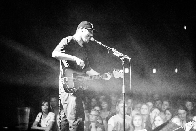 Portugal. The Man, Concert Photo, Linz, Austria, 2014, Petzval Lens: Zachary Carothers playing bass