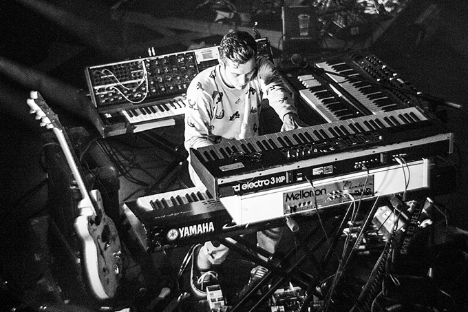 Portugal. The Man, Concert Photo, Linz, Austria, 2014, Petzval Lens: Kyle O'Quin playing keyboard