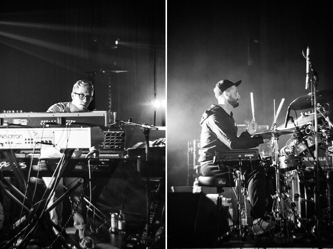 Portugal. The Man, Concert Photo, Linz, Austria, 2014, Petzval Lens: Kyle O'Quin on keyboard and Jason Sechrist on drums