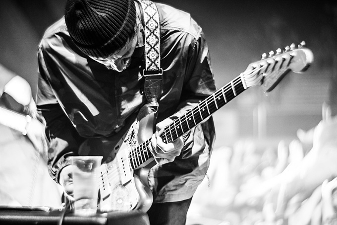Portugal. The Man, Concert Photo, Linz, Austria, 2014, Petzval Lens: John Gurley closeup with guitar