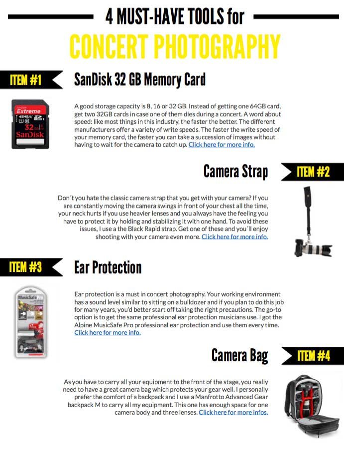 4 must have tools in concert photography